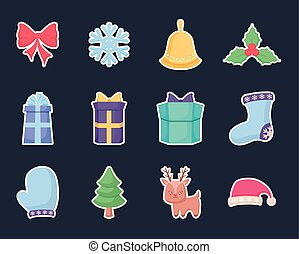 gift box with set icons of christmas