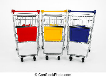 gift box with shopping carts over white background