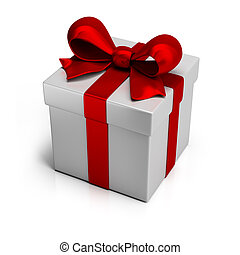 gift box with silk red ribbon. 3d image. Isolated white ...