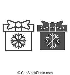 Gift box with snowflake line and glyph icon. Present vector illustration isolated on white. Christmas package outline style design, designed for web and app. Eps 10.