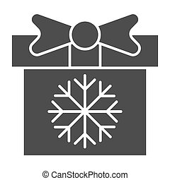Gift box with snowflake solid icon. Present vector illustration isolated on white. Christmas package glyph style design, designed for web and app. Eps 10.