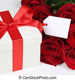 Gift box with tag and copyspace for birthday, Valentine's or mot