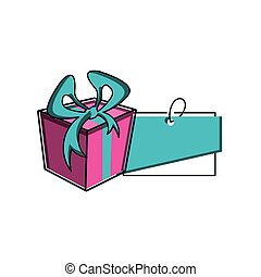gift box with tag commercial isolated icon