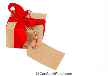 gift box with tag with empty space for a text isolated on the white background, clipping path included