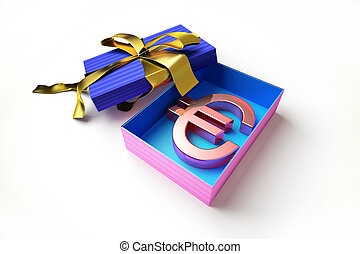 gift box with the euro symbol in