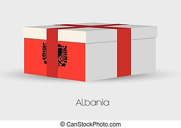 Gift Box with the flag of Albania