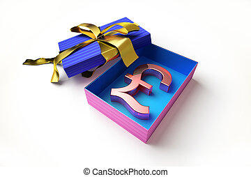 gift box with the pound symbol in