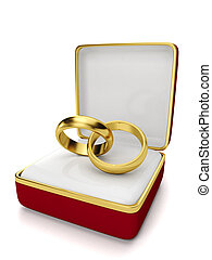 Gift box with two wedding rings on a white background