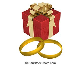 Gift box with wedding rings. 3D image.