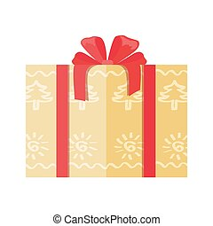Gift Box Wrapped in Paper with Abstract Trees Icon