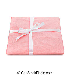 Gift box wrapped with pink paper on a white background.