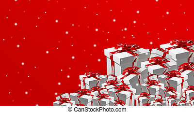 gift boxes 3d render red