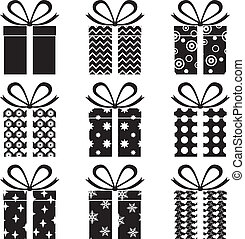 A set of black and white gift box with a pattern