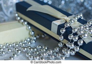 Gift boxes among Christmas decorations