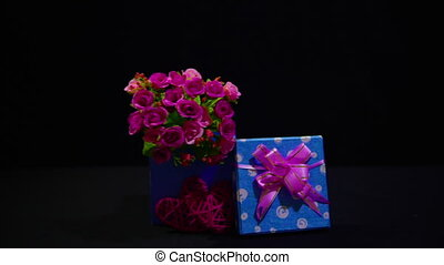 Gift boxes and flower bouquet for decoration valentine...