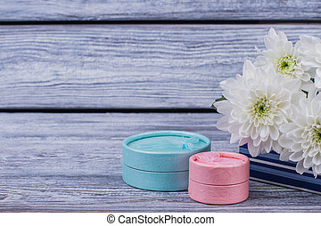 Gift boxes and flowers with copy space.