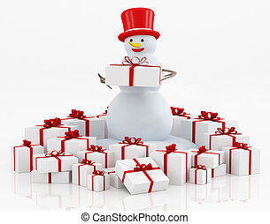 Gift boxes and snowman - group of gifts and snowman on white...