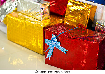 Gift boxes arranged on Christmas