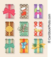 Gift boxes bright colorful set