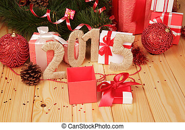 Gift boxes, Christmas toys and 2015 sign