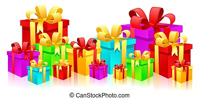 Gift boxes - colorful gift boxes with reflection on white...