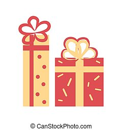 Gift Boxes Decorated with Bows Vector Illustration