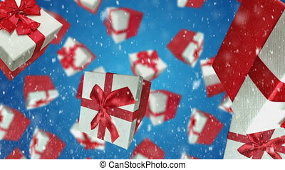 Gift boxes falling down on blue background
