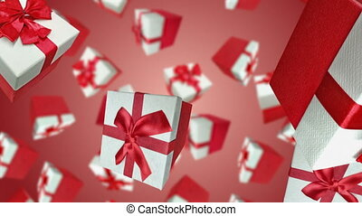 Gift boxes falling down on red background