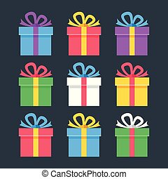 Gift boxes flat icons. Giftbox, present, package concepts. Modern flat design. Vector icons set