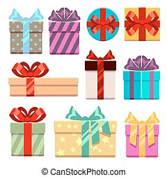 Gift boxes flat icons set