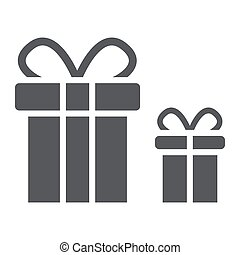 Gift boxes glyph icon, package and surprise, presents sign, vector graphics, a solid pattern on a white background.