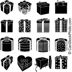 Gift boxes icons set