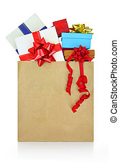 Gift boxes in a paper shopping bag on white background