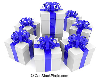 Gift boxes in blue and white colors