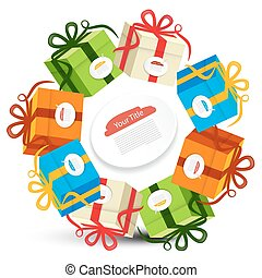 Gift Boxes in Circles. Vector Present Box Set Isolated on White Background.