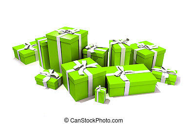 Gift boxes in green