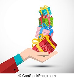Gift Boxes in Hand Vector Illustration