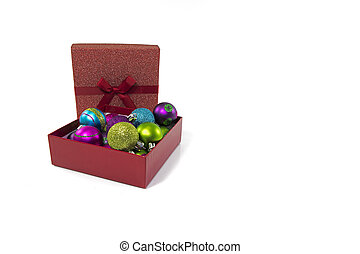 gift boxes in red with christmas balls