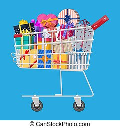 Gift boxes in shopping cart.