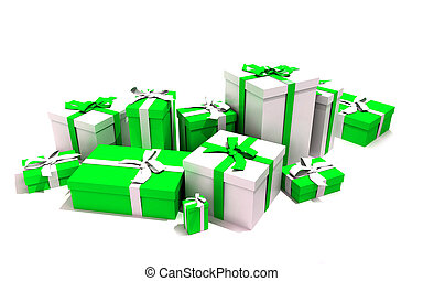 Gift boxes in white and green