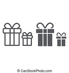Gift boxes line and glyph icon, package and surprise, presents sign, vector graphics, a linear pattern on a white background.