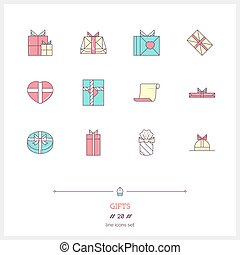 Gift boxes line color icons set. Lots of presents.