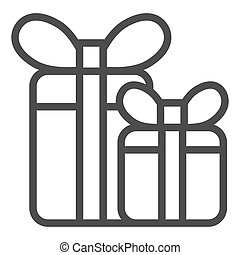 Gift boxes line icon. Two presents with bow vector illustration isolated on white. Holiday package outline style design, designed for web and app. Eps 10.