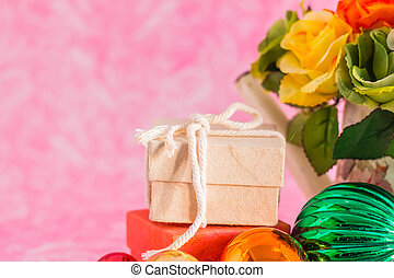 Gift boxes on background.