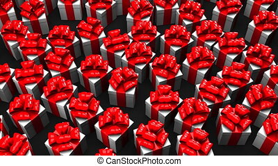 Gift boxes on black background