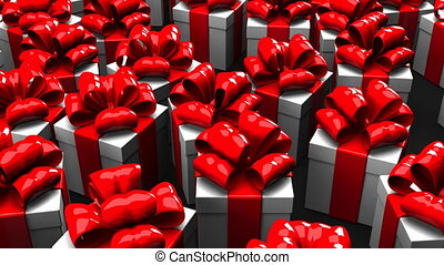 Gift boxes on black background. Loop able 3DCG render...