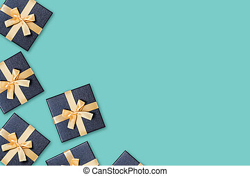 Gift boxes on green background.