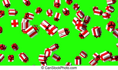 Gift Boxes On Green Chroma Key. Loop able 3DCG render...