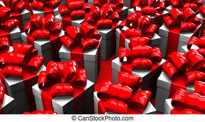 Gift boxes on red background