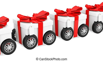 Gift boxes on wheels, gift delivery concept, animation. 3D rendering isolated on white background